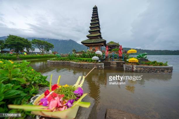 Beautiful view of Pura Ulun Danu Bratan, a Hindu temple on Bratan lake, Bali, Indonesia.