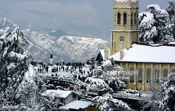 Beautiful view of Ridge and snow covered hills near Shimla after the heavy snowfall, on January 8, 2017 in Shimla, India. The first heavy and...