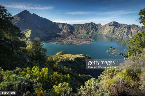 Beautiful view of Rinjani active volcano mountain in a morning, Lombok island, Indonesia