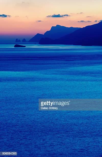 Beautiful view of the Amalfi Coast at sunset