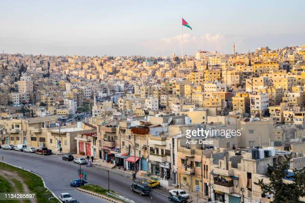 beautiful view of the amman city in jordan. - jordanian stock pictures, royalty-free photos & images