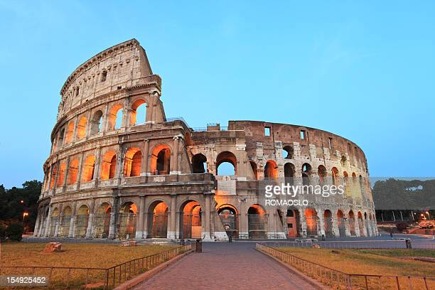 A beautiful view of the Coliseum in Rome by night