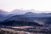 Beautiful view of the Himalayan mountains in the background, including Machhapuchhare and Annapurna, Pokhara, Nepal