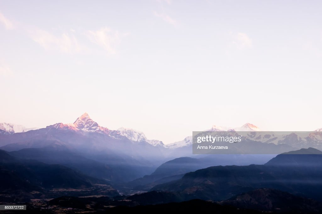 Beautiful view of the Himalayan mountains in the background, including Machhapuchhare and Annapurna, Pokhara, Nepal : Stock Photo