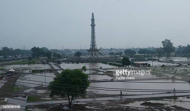 A beautiful view of the historical Minar e Pakistan during heavy monsoon rain in Lahore In report 10 people killed including 4 child and 42 people...