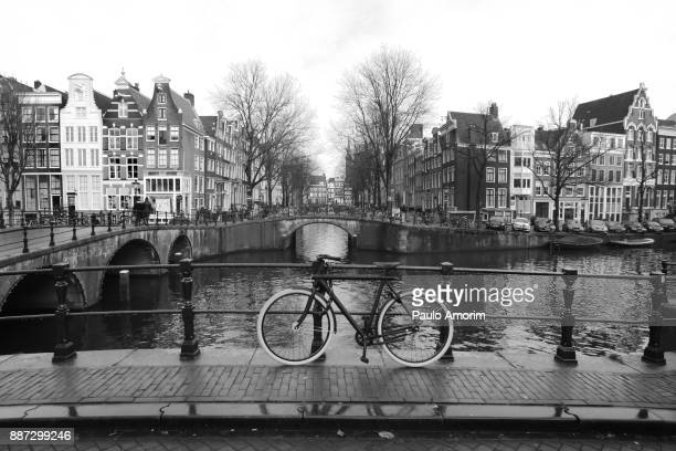 Beautiful view of the junction of canals in Amsterdam