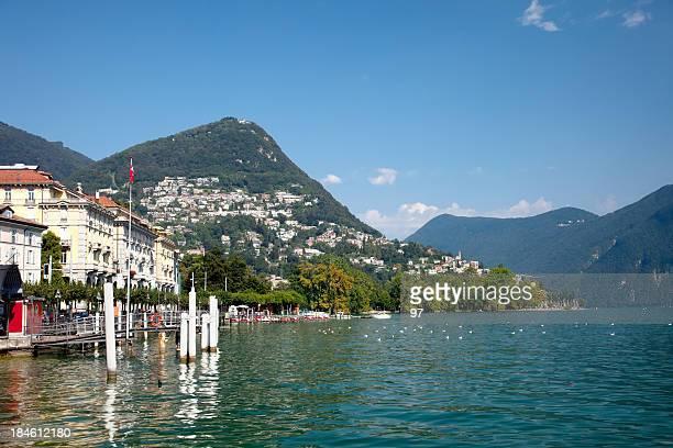 Beautiful view of the Lugano lake city in Switzerland
