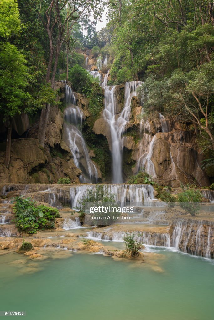 Beautiful view of the main fall at the Tat Kuang Si Waterfalls near Luang Prabang in Laos. : Stock Photo