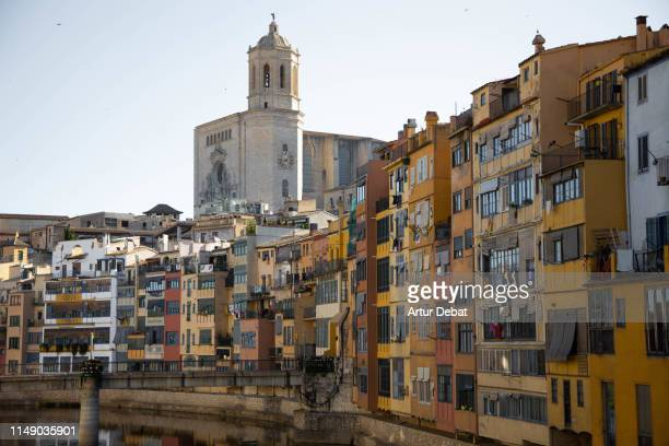 beautiful view of the old town of girona from bridge with cathedral. - gerona city stock pictures, royalty-free photos & images