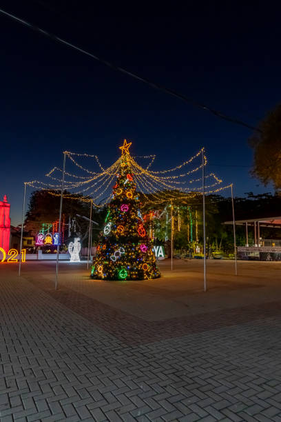 Beautiful view of the San Blas Church in Nicoya Guanacaste with Christmas  decorations in Costa Rica