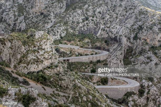 beautiful view of the touristic serpentines sa calobra