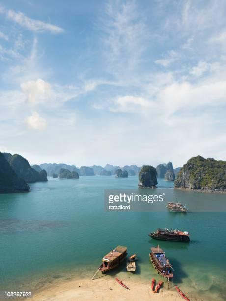 Vue splendide sur les bateaux touristiques de la Baie d'Halong, Vietnam