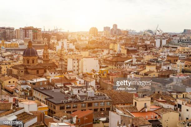 beautiful view of valencia from the tower torre del miguelete - valencia spain stock pictures, royalty-free photos & images