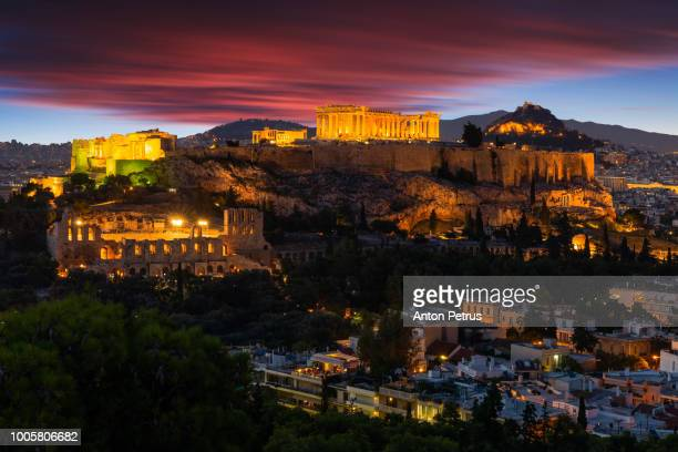 Beautiful view on Acropolis in Athens at sunrise