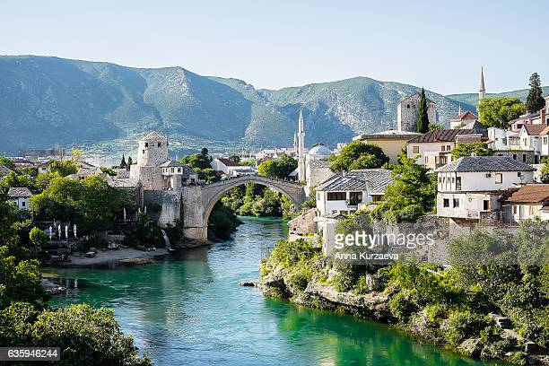 Beautiful view on Mostar city with old bridge on Neretva river in Bosnia and Herzegovina