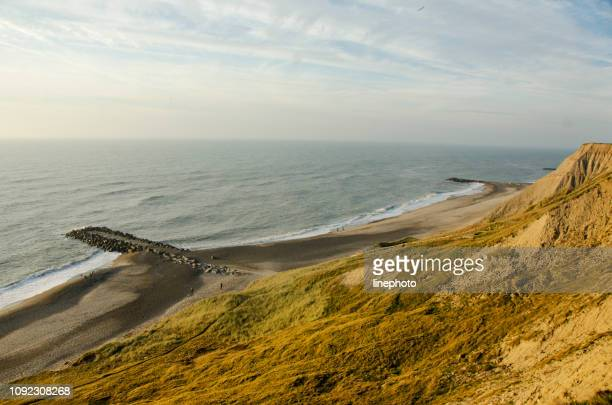 beautiful view over the north sea, the beach and the dunes on a sunny summer day - denmark stock pictures, royalty-free photos & images