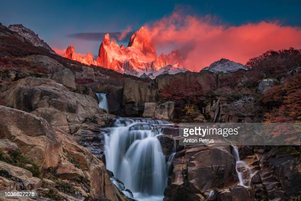 beautiful view with waterfall and fitz roy mountain. patagonia, argentina - santa cruz province argentina stock pictures, royalty-free photos & images
