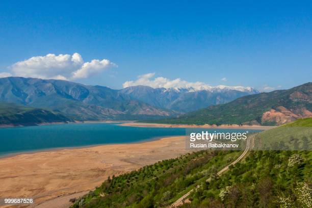 beautiful views of charvak lake - muziek stock pictures, royalty-free photos & images