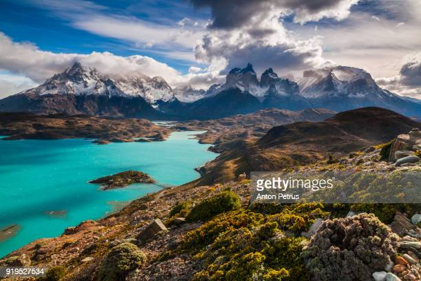 Beautiful views of the Cuernos towers and Lake Pehoe. Torres del Paine, Chile