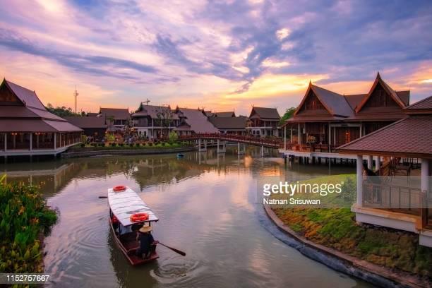 beautiful village at sunset. - provinz chonburi stock-fotos und bilder