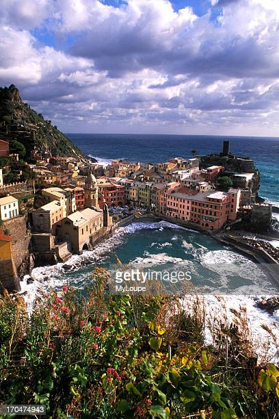 Beautiful Village of Vernazza in the Cinque Terre Area of Italy along Ocean