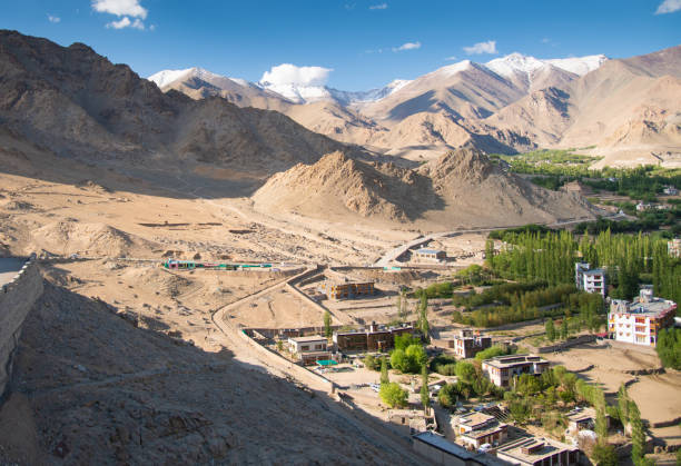 Beautiful villages and extrem terrain view scenics nature and mountain landscape background from Nubra valley in Leh, Ladakh India