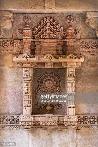 Beautiful wall details at the ancient Adalaj Stepwell in Ahmedabad