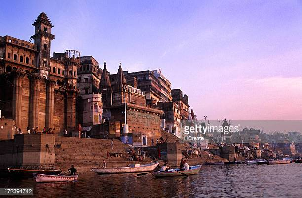 beautiful water view in the morning of ganges varanasi india - varanasi stock pictures, royalty-free photos & images