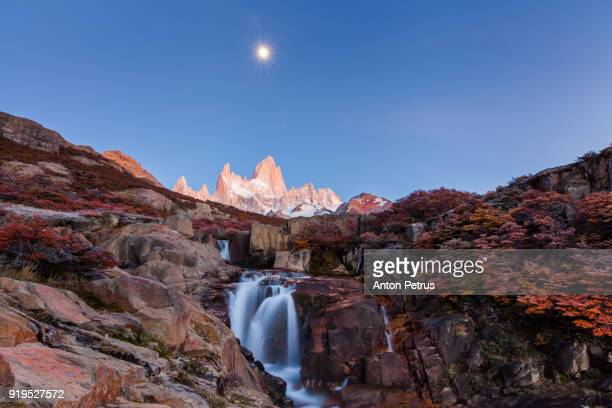 Beautiful waterfall and Mount Fitz Roy. Patagonia, Argentina
