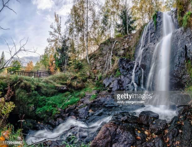 beautiful waterfall in autumn - sachsen stock-fotos und bilder