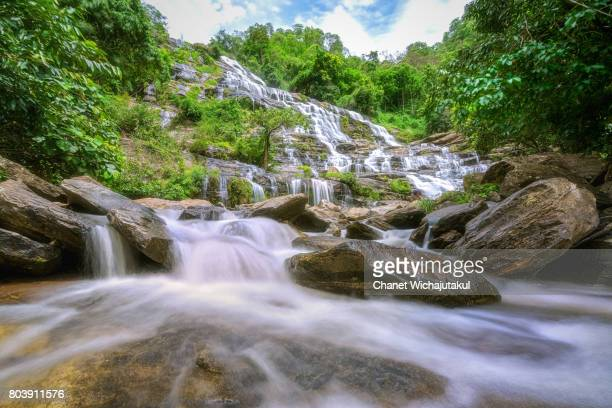 Beautiful waterfall in  forest, deep forest waterfall.