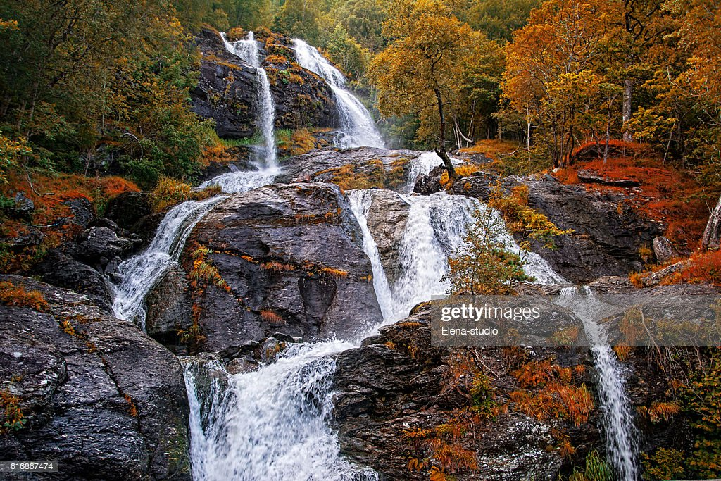 Beautiful waterfalll in autumn forest, Norway. Toned image : Stock Photo