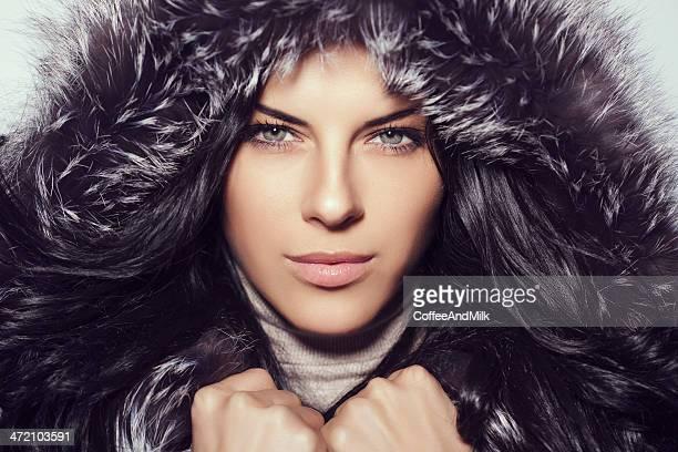 Beautiful wearing fur hood