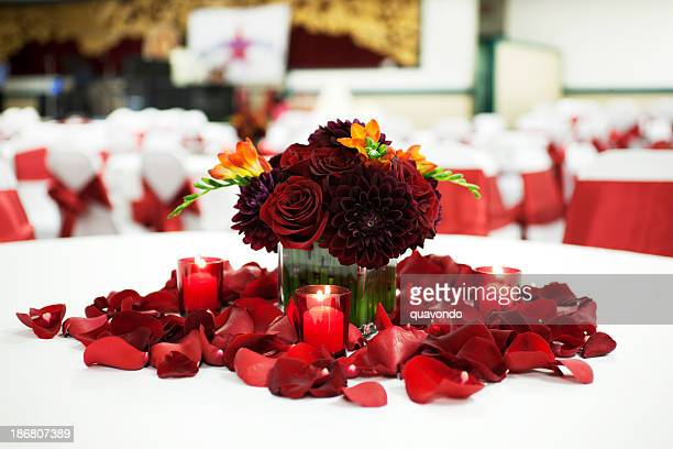 Beautiful Wedding Reception Center Piece with Empty Tables