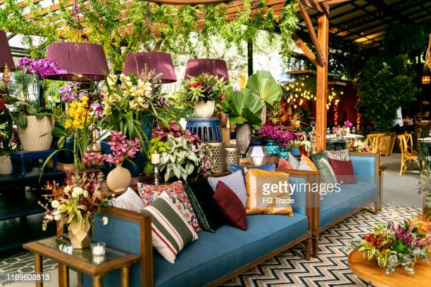 beautiful wedding venue - wedding decoration stock pictures, royalty-free photos & images