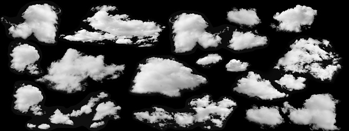 Beautiful  white clouds collection isolated on black background 896115060