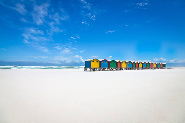 Beautiful White Sandy Beach With Colorful Huts Wall Art