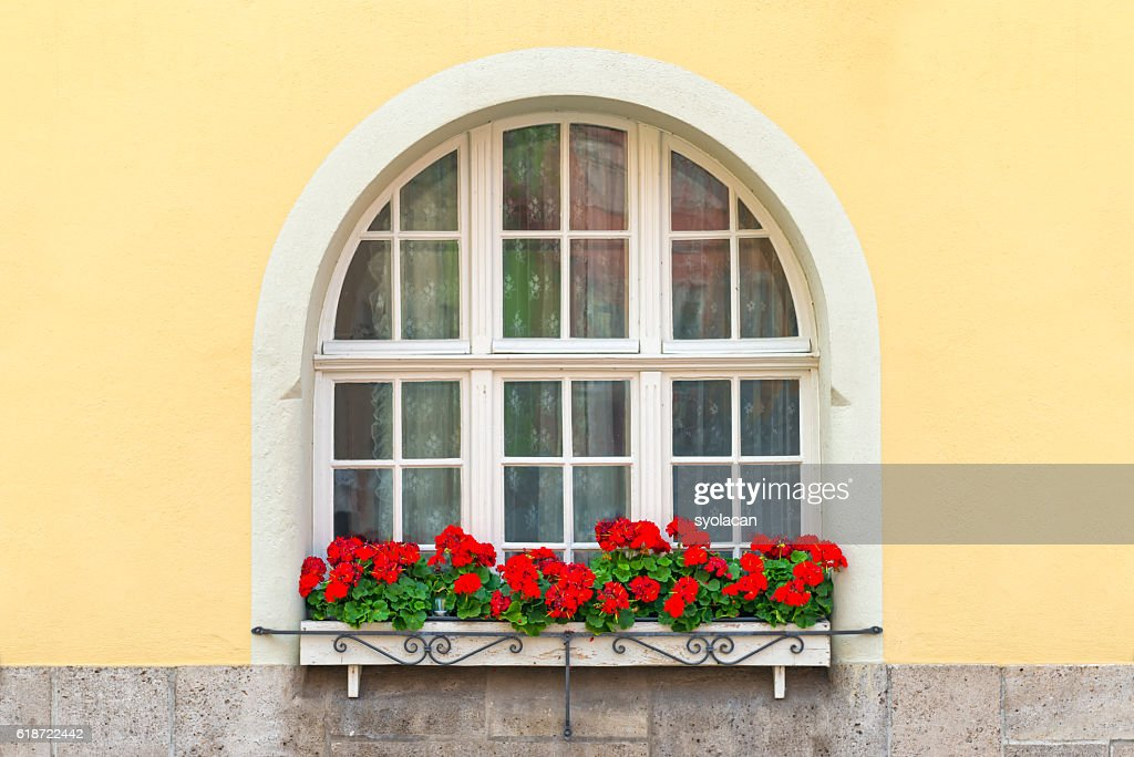 Beautiful Window with flowers from Bavaria : Stock Photo