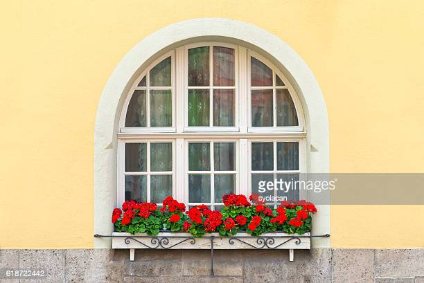beautiful window with flowers from bavaria - syolacan stock-fotos und bilder