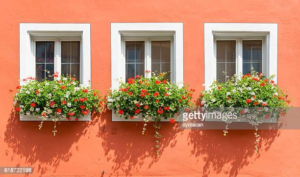 beautiful windows with flowers from bavaria - syolacan stock pictures, royalty-free photos & images