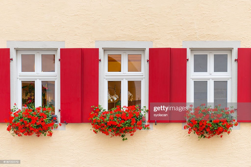 Beautiful Windows with flowers from Bavaria : Stock Photo