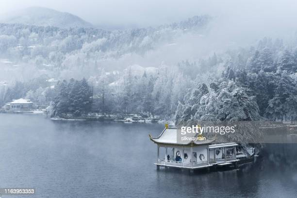 beautiful winter landscape on lushan mountain - pavilion stock pictures, royalty-free photos & images