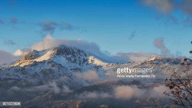 Beautiful winter landscape with snow covered mountain. Guadarrama mountain range, Madrid, Spain.