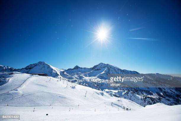 beautiful winter mountains on a bright sunny day - andorra la vella stock pictures, royalty-free photos & images