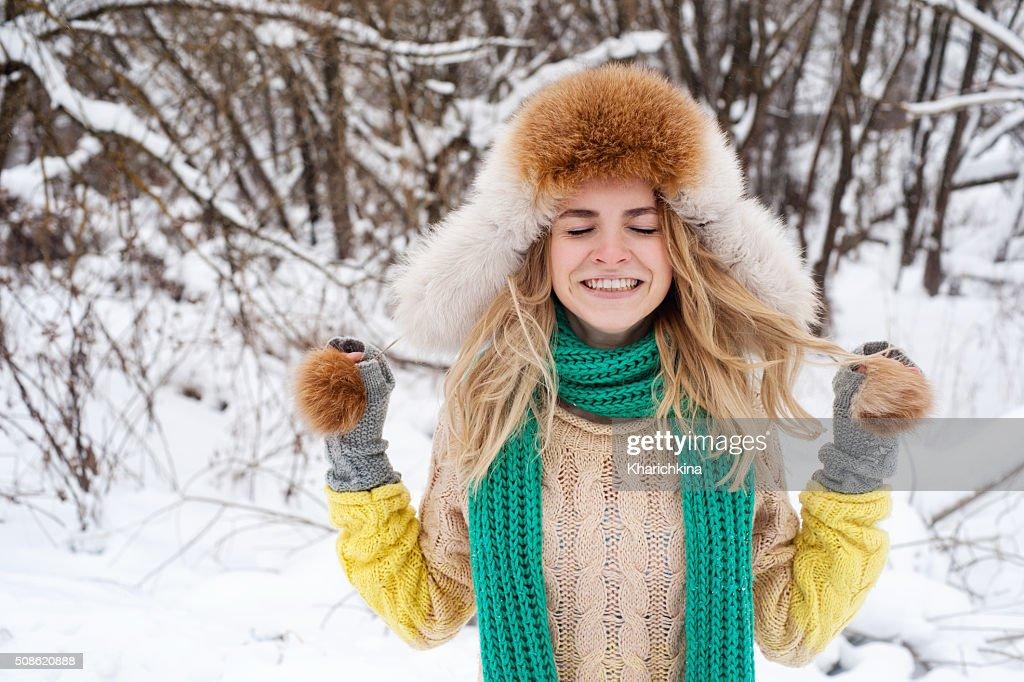 Beautiful winter portrait of young woman : Stock Photo