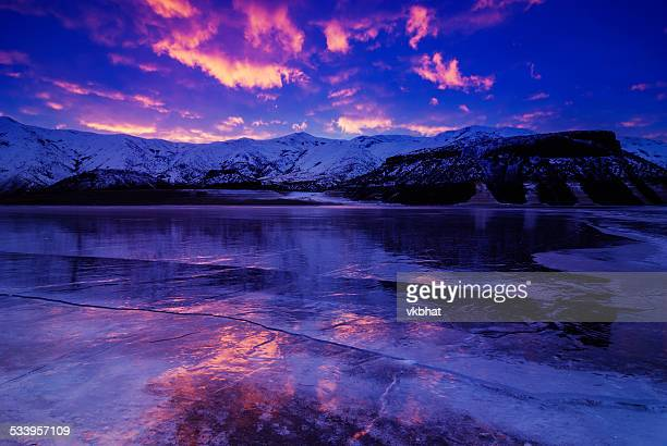beautiful winter sunrise in idaho - idaho stock pictures, royalty-free photos & images