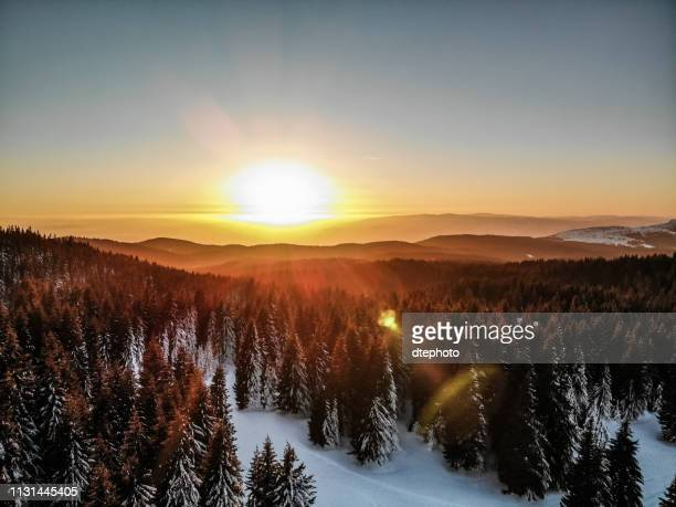 beautiful winter sunrise in the mountains - serbia stock pictures, royalty-free photos & images