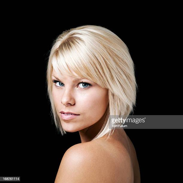 Beautiful Woman Against Black Background