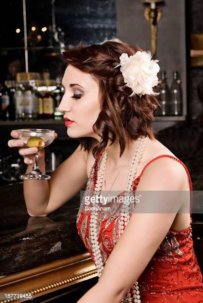 Beautiful Woman Alone At A Bar