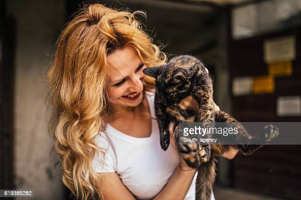 Beautiful woman and her cat